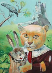 Surrealist fairy tale tiger & rabbit gouache painting