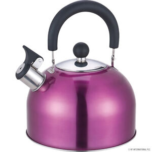 Whistling Kettle PRIMA Stainless Steel 2.5 Ltr Phenolic Handle Kitchenware Purpl