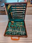 Vintage OFFICIAL THAI GEMS FACTORY Bronze, Wood Case, Flatware 29-Piece Set.