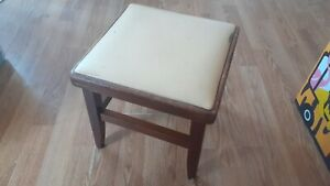 """Vintage Wooden Stool Faux Leather Seat Retro 12"""" Tall - used condition"""