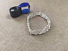 Charles Winston RAS 925 Sterling Silver Rhodium-plated Heart Tennis Bracelet 6.5