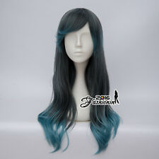 Wavy Long 60CM Ombre Lolita Grey & Blue Women Party Cosplay Wig Heat Resistant