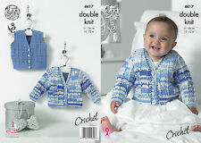 King Cole 4417 Crochet Pattern Baby Cardigan & Waistcoat in King Cole Cherish DK