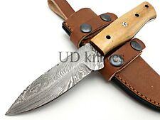 UD CUSTOM MADE FIXED BLADE 1095 DAMASCUS ART HUNTER FULL TANG SKINNER KNIFE 367