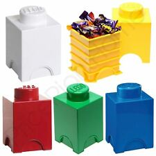 LEGO STORAGE BRICK BOX 1 KNOB KIDS CHILDRENS BEDROOM PLAYROOM VARIOUS  COLOURS