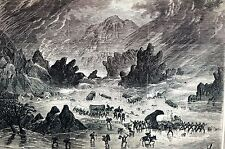 Canon Water Flood 1873 LA PAS ARIZONA Wagon Train Matted Antique Print Engraving