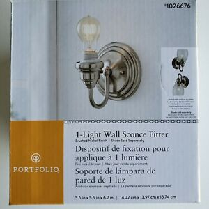 Portfolio 1-Light Wall Sconce Fitter Brushed Nickel 1026676 Brand New