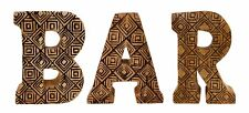 Hand Carved Wooden Geometric Letters Bar Sign Plaque Rustic Art Decor Ornament
