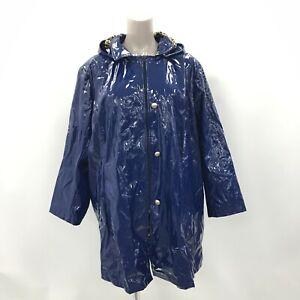Dennis Basso Coat Women's Size 3XL Blue PVC Rain Mac Patent Jacket Hooded 421109