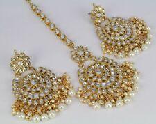 Indian Fashion jewelry wedding Gold Plated Kundan Earring Tikka set women
