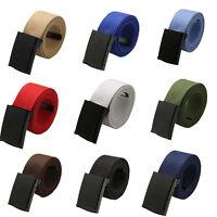 Ee _ Unisex Color Sólido Banda Lona Cinturón Automático Hebilla Cinturilla Braw
