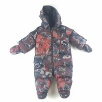 New Burberry Baby Skylar Quilted Burgundy Pink Floral Snowsuit 3M