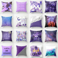 PURPLE TREE LETTERS PRINTED PILLOW CASE CUSHION COVER HOME SOFA CAR DECOR NICE