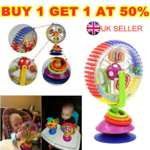 Rainbow Toddler Ferris Wheel Baby Toy Rattle Clanking Suction High Chair Toys UK