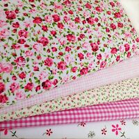 Fat Quarters Bundles PINK BLENDER Fabric Craft Shabby Chic Bunting Roses Gingham