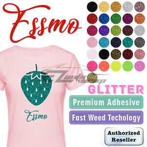 "Essmo Glitter Heat Transfer Vinyl HTV Sheets T-Shirt 20"" Wide 1 , 3 , 5, 10 Yard"