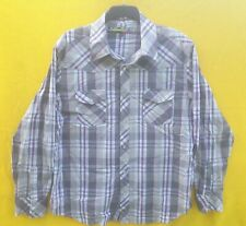 Mishka MNWKA Check Checkered Long Sleeve Grey White Purple Mens Shirt XXL 2XL