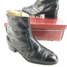Vintage Mens Beatle Ankle Boots Black Leather Disco Hipster Retro USA Size 8 E/C