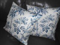 Schumacher throw pillows BRANTWOOD VINE in Indigo printed floral linen new PAIR