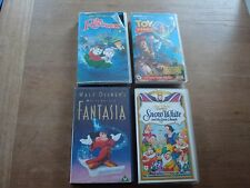 JOB LOT 4 X VHS VIDEO DISNEY FILMS - FANTASIA, SNOW WHITE, RESCUERS, TOY STORY