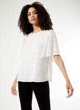 Dorothy Perkins Womens Ivory Textured Plain T-Shirt Short Sleeve Blouse Top