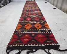 2.9x16.2 FT Extra Long Handmade Staircase Turkish Wool Kilim Kelim Rug Runner