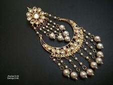 Traditional Ethnic Gold Plated Kundan Earrings Party Wear Jhumka Chand Bali