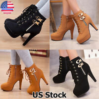 Womens Ankle Boots High Heel Platform Booties Ladies Lace Up Buckle Zip Shoes US
