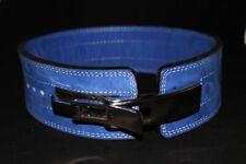 10MM BLUE POWERLIFTING Weightlifting LEVER BELT Powerbelt (L) w/ Chrome Lever