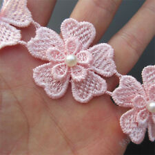 10x Vintage Flower Heart Pearl Lace Edge Trim Wedding Ribbon Applique DIY Sewing