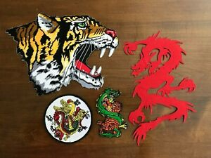 Shaolin Tiger and Dragon Patches: Set of 4 Karate Patches; two new, two sewn