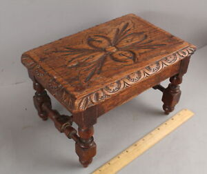 Antique 19thC Hand Carved English Oak Footstool Bench ...NO RESERVE