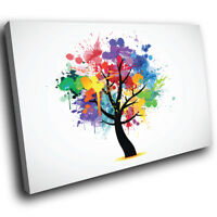 AB656 Colourful Retro Tree Modern Abstract Canvas Wall Art Large Picture Prints