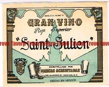 Unused 1940s MEXICO Dr. Marquez GRAN VINO SAINT JULIEN Label