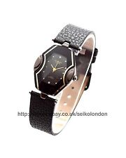 Omax Ladies Black/Gold Dial Watch, Black Strap, Seiko (Japan) Movt. RRP £49.99