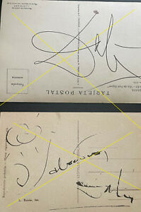 Two postcards signed by Salvador Dali