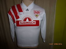 VfB Stuttgart Adidas Langarm D-Junior Matchworn Trikot 1992/93 + Nr.11 Gr.152