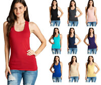 Womens Juniors Basic Sleeveless Cotton Racerback Tank Top