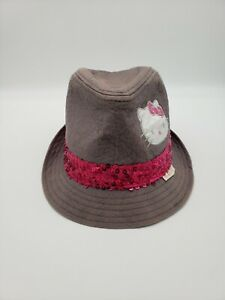 Hello Kitty Girls Distressed Fedora Hat Gray With Pink Sequined Band Size Small