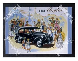 Historic Ford Anglia E494A car, 1950s Advertising Postcard