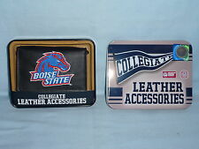 BOISE STATE BRONCOS   embroidered  Leather TriFold Wallet    NIB    black