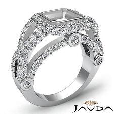 Asscher Semi Mount Diamond Engagement Halo Ring 1.4Ct 14k White Gold Cross Shank