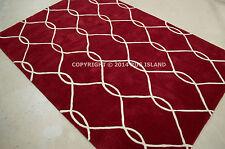 "4x6 (3'6"" x 5'6"")  Contemporary Geometric Modern Red Ivory Plush Area Rug"