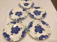 5 Pier 1 Blue Flowers Green Leaves White Salad Plate 8""