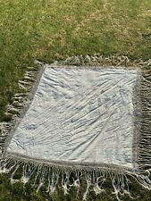 More details for antique victorian silk piano shawl with embroidered floral pattern