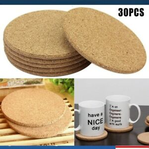 30PCs Cork Wood Drink Coaster Tea Coffee Cup Mat Pads Table Decor Tableware Mat