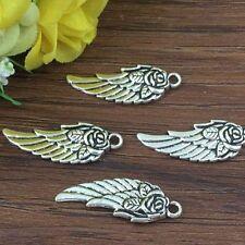 5pcs wing Tibetan Silver Bead charms Pendants DIY jewelry 30x10mm