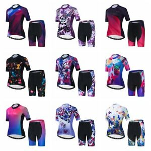 Colorful Women Cycling Jersey Set Short Sleeve 5D Padded Bike Shorts Clothes Top