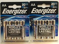 8 Fresh Energizer AA Ultimate Lithium Batteries (2 Cards of 4) Dated DEC-2035