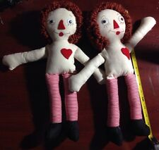 Vintage Handmade Raggedy Ann And Andy Dolls 16 Inch